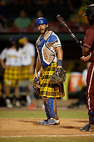 Savannah Bananas catcher Bill Leroy (1) during a Coastal Plain League game against the Macon Bacon on July 15, 2020 at Grayson Stadium in Savannah, Georgia.  Savannah wore kilts for their St. Patrick's Day in July promotion.  (Mike Janes/Four Seam Images)