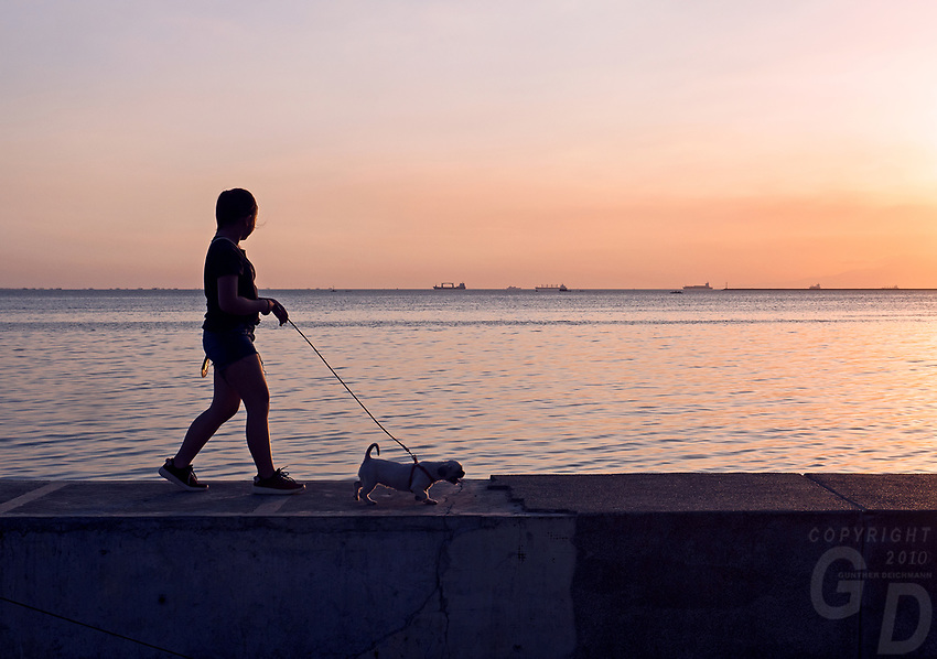 Walking the Dogs at Sunset. General life and environs in the Malate, Manila area and Manila Bay, Philippines. Sunset,
