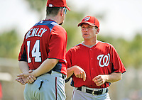 20 February 2011: Washington Nationals' Hitting Coach Rick Eckstein discusses drills with Spring Instructor Bob Henley at the Carl Barger Baseball Complex in Viera, Florida. Eckstein donated one of his kidneys to his older brother Ken during the off-season after learning Ken was in need of a transplant to save his life.Mandatory Credit: Ed Wolfstein Photo