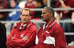 Jim Sterk, Washington State University Athletic Director, and Elson Floyd, Washington State University President, talk on the sidelines during the Cougars football game versus the University of Southern California on October 18, 2008, at Martin Stadium in Pullman, Washington.  With WSU fighting the injury bug, especially at the quarterback position, USC beat the Cougars in convincing fashion, 69-0.