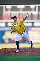 Michigan Wolverines relief pitcher Benjamin Keizer (14) delivers a pitch during a game against Army West Point on February 17, 2018 at Tradition Field in St. Lucie, Florida.  Army defeated Michigan 4-3.  (Mike Janes/Four Seam Images)