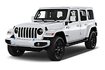 2021 JEEP Wrangler-Unlimited High-Altitude-4XE 5 Door SUV Angular Front automotive stock photos of front three quarter view
