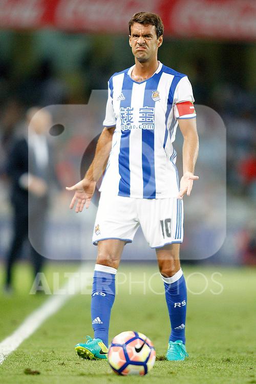 Real Sociedad's Xabi Prieto during La Liga match. August 21,2016. (ALTERPHOTOS/Acero)
