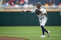 Auburn Tigers second baseman Ryan Bliss (9) makes a throw to first base during Game 7 of the NCAA College World Series against the Louisville Cardinals on June 18, 2019 at TD Ameritrade Park in Omaha, Nebraska. Louisville defeated Auburn 5-3. (Andrew Woolley/Four Seam Images)