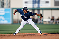 Lakeland Flying Tigers Isaac Paredes (3) throws to first base during the first game of a doubleheader against the Bradenton Marauders on April 11, 2018 at Publix Field at Joker Marchant Stadium in Lakeland, Florida.  Lakeland defeated Bradenton 5-4.  (Mike Janes/Four Seam Images)