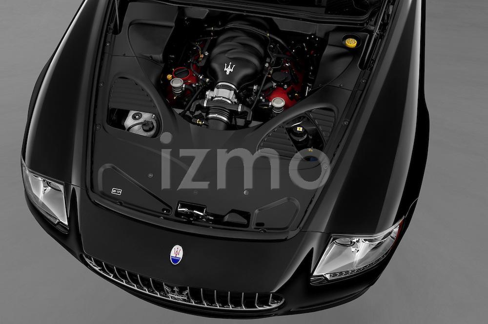 High angle engine detail of a 2009 Maserati Quattroporte S Sedan.