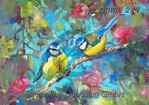 Simon, REALISTIC ANIMALS, REALISTISCHE TIERE, ANIMALES REALISTICOS, innovative, paintings+++++A_SueG_BluebirdsAndBlossom,GBWR247,#a#, EVERYDAY