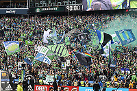 SEATTLE, WA - NOVEMBER 10: Seattle Sounders FC fans celebrate after the game during a game between Toronto FC and Seattle Sounders FC at CenturyLink Field on November 10, 2019 in Seattle, Washington.