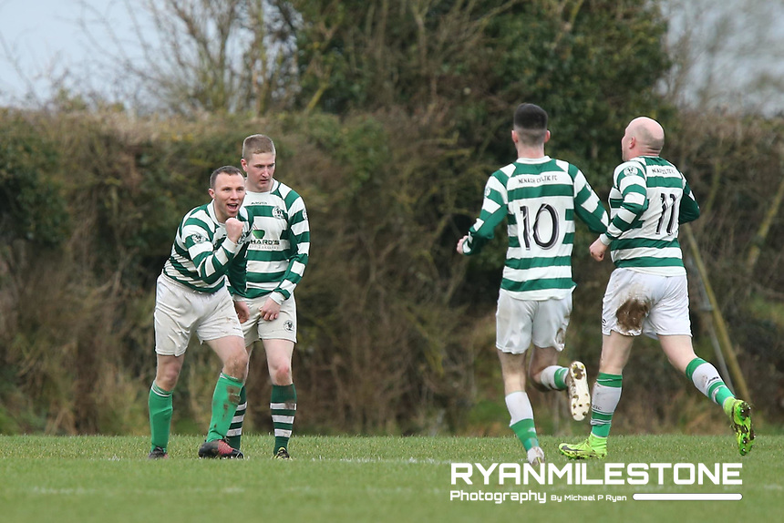 Nenagh Celtic's Danny Ryan celebrates with teammates after scoring the opening goal of the game during the Munster Junior Cup 4th Round at Tower Grounds, Thurles, Co Tipperary on Sunday 28th January 2018, Photo By: Michael P Ryan
