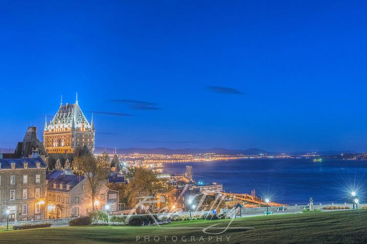 Canada, Quebec, Quebec City, Twilight Old Town