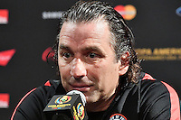 Chile manager Juan Antonio Pizzi during team press conference on the eve of Copa America Centenario championship match, Saturday, June 25, 2016 in East Rutherford, New Jersey. (TFV Media via AP) *Mandatory Credit*