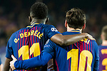 Lionel Andres Messi of FC Barcelona celebrates with teammate Ousmane Dembele during the UEFA Champions League 2017-18 Round of 16 (2nd leg) match between FC Barcelona and Chelsea FC at Camp Nou on 14 March 2018 in Barcelona, Spain. Photo by Vicens Gimenez / Power Sport Images