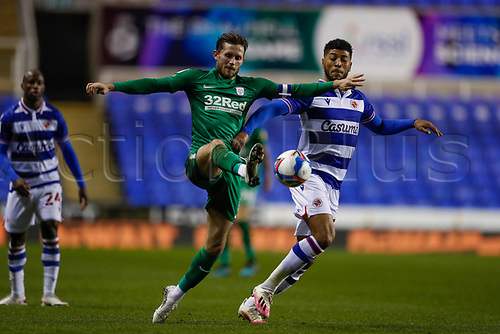 4th November 2020; Madejski Stadium, Reading, Berkshire, England; English Football League Championship Football, Reading versus Preston North End; Andy Rinomhota of Reading is challenged by Josh Laurent of Reading