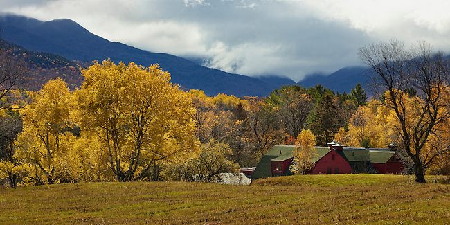 An Autumn view of Indian Pass from Adirondack Loj Road leading to Heart Lake in the High Peaks Region of New York State's Adirondack Park.