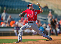 15 March 2016: Washington Nationals pitcher Aaron Laffey on the mound during a Spring Training pre-season game against the Houston Astros at Osceola County Stadium in Kissimmee, Florida. The Nationals defeated the Astros 6-4 in Grapefruit League play. Mandatory Credit: Ed Wolfstein Photo *** RAW (NEF) Image File Available ***