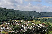 Blick von  Gotthardsruine auf Amorbach im Odenwald, Bayern, Deutschland