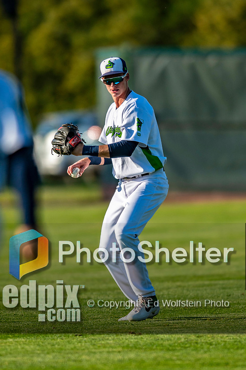 24 August 2019: Vermont Lake Monsters infielder Logan Davidson warms up prior to facing the Lowell Spinners at Centennial Field in Burlington, Vermont. The Lake Monsters fell to the Spinners 3-2 in NY Penn League action. Mandatory Credit: Ed Wolfstein Photo *** RAW (NEF) Image File Available ***