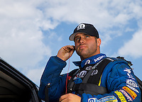 Aug 31, 2014; Clermont, IN, USA; NHRA  funny car driver Matt Hagan during qualifying for the US Nationals at Lucas Oil Raceway. Mandatory Credit: Mark J. Rebilas-USA TODAY Sports