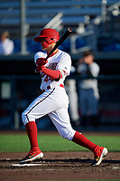 Auburn Doubledays Jose Sanchez (44) at bat during a NY-Penn League game against the West Virginia Black Bears on August 23, 2019 at Falcon Park in Auburn, New York.  West Virginia defeated Auburn 8-1, the first game of a doubleheader.  (Mike Janes/Four Seam Images)