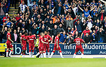 St Johnstone v Rangers…22.09.19   McDiarmid Park   SPFL<br />Alfredo Morelos celebrates his gola with the Rangers fans<br />Picture by Graeme Hart.<br />Copyright Perthshire Picture Agency<br />Tel: 01738 623350  Mobile: 07990 594431