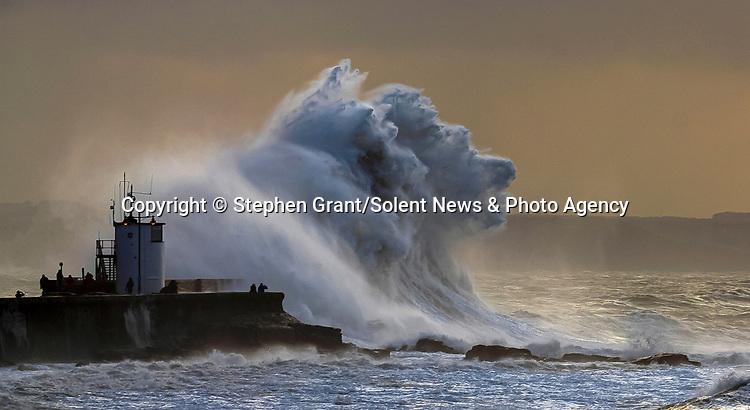 """Pictured:  The waves forming the shape of a wolf<br /> <br /> A sea horse, wolf and lion appeared in blasts of spray as huge waves crash against a pier.  As the storm raged, giant walls of water battered the coastline and erupted in clouds above the pier, forming shapes of animals in the mist.<br /> <br /> Stephen Grant, 60, who lives in Porthcawl, Wales, with his wife Kath, caught all the images on the same morning in the seaside town.  He said: """"Storms occur throughout the year especially when the winds are blowing south-south westerly with gusts reaching up to 30mph to 40mph that cause big swells, throwing the waves over the pier, peaking at times to 20ft to 30ft high.  SEE OUR COPY FOR DETAILS.<br /> <br /> Please byline: Stephen Grant/Solent News<br /> <br /> © Stephen Grant/Solent News & Photo Agency<br /> UK +44 (0) 2380 458800"""
