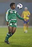 Nigeria forward (10 Rita Chikwelu. Sweden (SWE) tied Nigeria (NGA) 1-1 during a FIFA Women's World Cup China 2007 opening round Group B match at Chengdu Sports Center Stadium, Chengdu, China, on September 11, 2007.