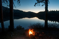 Campfire Along The Shore Of Whortleberry Pond In The Adirondack Mountains Of New York State