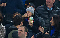 Antonio Conte daughter blows a kiss to her Dad as he does a lap of the pitch after the EPL - Premier League match between Chelsea and Manchester United at Stamford Bridge, London, England on 5 November 2017. Photo by Andy Rowland / PRiME Media Images.