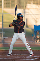 AZL Giants Black center fielder Alexander Canario (14) at bat during an Arizona League game against the AZL Athletics at the San Francisco Giants Training Complex on June 19, 2018 in Scottsdale, Arizona. AZL Athletics defeated AZL Giants Black 8-3. (Zachary Lucy/Four Seam Images)