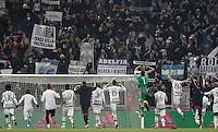 Juventus' players celebrate at the end of the Italian Serie A football match between Juventus and Roma at Juventus Stadium. Juventus won 1-0.
