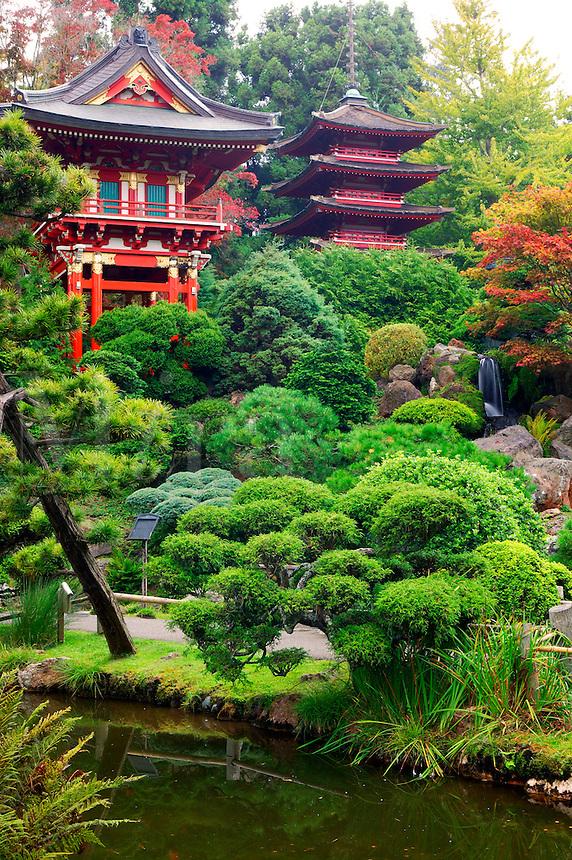 The Temple Gate and Buddhist Pagoda in the Japanese Tea Garden, Golden Gate Park, San Francisco, California.