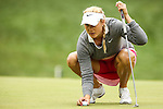 American Amanda Blumenherst reviews the fifth hole during Round 2 of the LPGA Championship at Locust Hill Country Club in Pittsford, NY on June 8, 2013