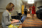 The Chronicle's Molly Glentzer files a story backstage at the annual Houston Chronicle's Best Dressed Luncheon at the Westin Galleria Hotel Tuesday April 3, 2013.(Dave Rossman photo)