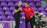 ORLANDO CITY, FL - JANUARY 31: Head coaches Gregg Berhalter of USA and Dennis Lawrence of Trinidad and Tobago after the match during a game between Trinidad and Tobago and USMNT at Exploria stadium on January 31, 2021 in Orlando City, Florida.