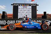 Winner Scott Dixon, Chip Ganassi Racing Honda celebrates, podium,