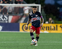 FOXBOROUGH, MA - AUGUST 4: Gustavo Bou #7 of New England Revolution passes the ball during a game between Nashville SC and New England Revolution at Gillette Stadium on August 4, 2021 in Foxborough, Massachusetts.