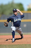 Seattle Mariners pitcher Paul Fry (57) during an instructional league game against the Kansas City Royals on October 2, 2013 at Surprise Stadium Training Complex in Surprise, Arizona.  (Mike Janes/Four Seam Images)