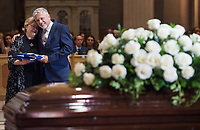 Francois Gerin-Lajoie and Sylvie Gerin-Lajoie son and daughter of Paul Gerin-Lajoie attend their father's funeral in Montreal, Thursday, August 9, 2018.THE CANADIAN PRESS/Graham Hughes