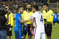 SAN SALVADOR, EL SALVADOR - SEPTEMBER 2: Coin toss during a game between El Salvador and USMNT at Estadio Cuscatlán on September 2, 2021 in San Salvador, El Salvador.