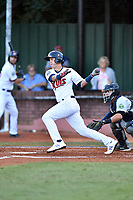 Elizabethton Twins third baseman Jose Miranda (27) swings at a pitch during game one of the Appalachian League Championship Series against the Pulaski Yankees at Joe O'Brien Field on September 7, 2017 in Elizabethton, Tennessee. The Twins defeated the Yankees 12-1. (Tony Farlow/Four Seam Images)