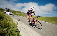 Sylvain Chavanel (FRA/IAM) descending the Port de Balès<br /> <br /> 2014 Tour de France<br /> stage 16: Carcassonne - Bagnères-de-Luchon (237km)