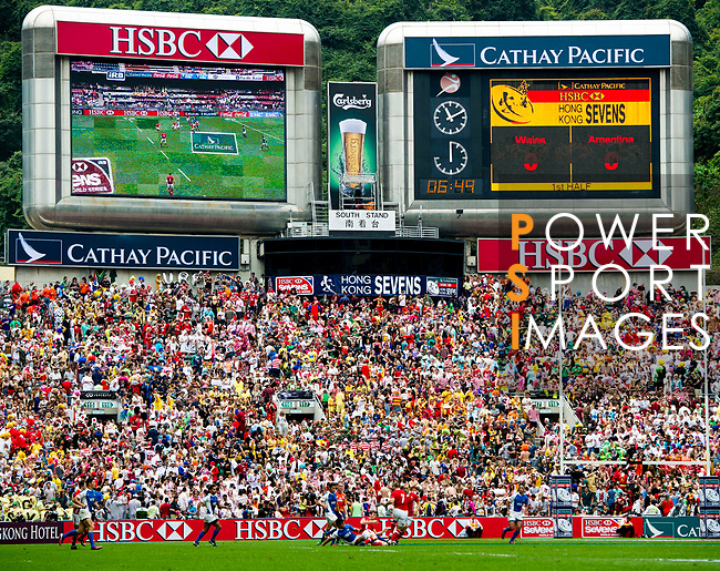 Wales play Argentina on Day 2 of the Cathay Pacific / HSBC Hong Kong Sevens 2013 on 23 March 2013 at Hong Kong Stadium, Hong Kong. Photo by Manuel Queimadelos / The Power of Sport Images