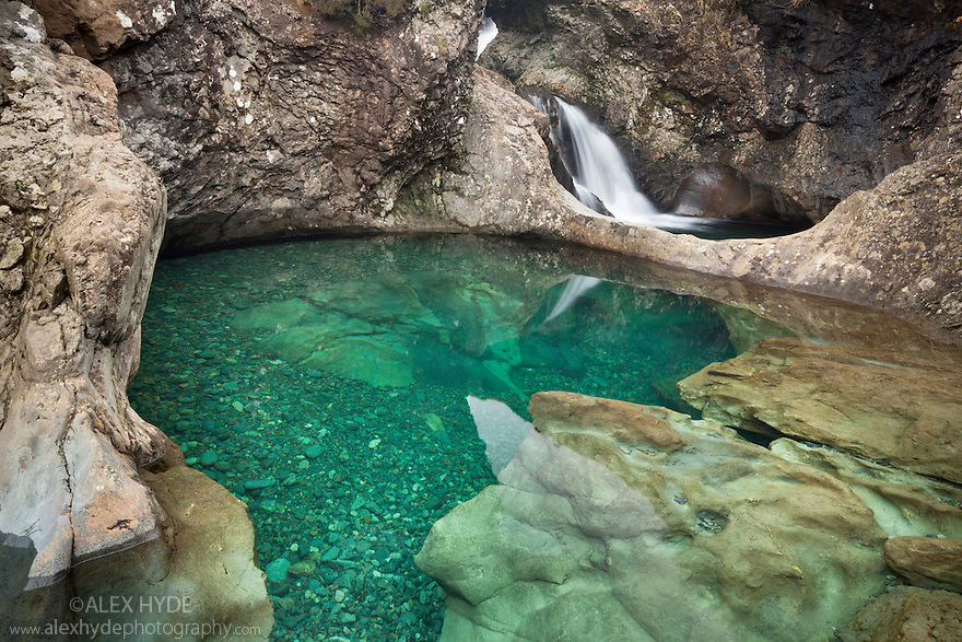 The Fairy Pools, a series of crystal clear pools created by the Allt Coir' a' Mhadaidh river as it cascades down from the Cullin Hills, Glen Brittle, Isle of Skye, Inner Hebrides, Scotland, UK. March.