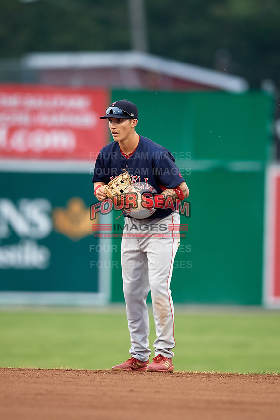 Lowell Spinners second baseman Jarren Duran (44) during a game against the Batavia Muckdogs on July 14, 2018 at Dwyer Stadium in Batavia, New York.  Lowell defeated Batavia 8-4.  (Mike Janes/Four Seam Images)
