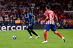 Atletico de Madrid's Angel Martin Correa and Club Brugge's Stefano Denswil during UEFA Champions League match between Atletico de Madrid and Club Brugge at Wanda Metropolitano Stadium in Madrid, Spain. October 03, 2018. (ALTERPHOTOS/A. Perez Meca)