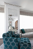 Blue armchair and ottoman