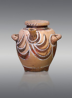 Luxury Minoan Kamares Ware pot with spout and lid with polychrome decorations , Phaistos 1900-1700 BC; Heraklion Archaeological  Museum, grey background.<br /> <br /> This style of pottery is named afetr Kamares cave where this style of pottery was first found