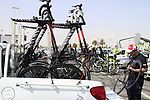 The Katusha Team Canyoni bikes in the team pick up truck before the start of the 2nd Stage of the 2012 Tour of Qatar an 11.3km team time trial at Lusail Circuit, Doha, Qatar. 6th February 2012.<br /> (Photo Eoin Clarke/Newsfile)