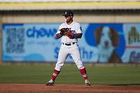 Kannapolis Cannon Ballers first baseman Harvin Mendoza (38) on defense against the Charleston RiverDogs at Atrium Health Ballpark on July 4, 2021 in Kannapolis, North Carolina. (Brian Westerholt/Four Seam Images)