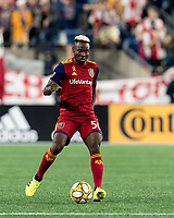 FOXBOROUGH, MA - SEPTEMBER 21: Sam Johnson #50 of Real Salt Lake passes the ball during a game between Real Salt Lake and New England Revolution at Gillette Stadium on September 21, 2019 in Foxborough, Massachusetts.